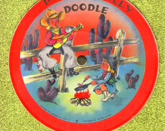 Free Shipping!  Vintage 1948 Child's Cardboard Record, Voco Records, Polly Wolly Doodle, Johnny Do Good, Great Graphics!