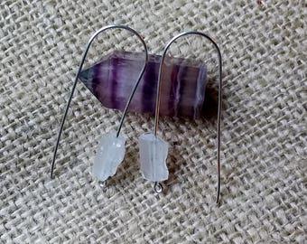 Quartz Crystal Nugget Drop Earrings on Sterling Silver Wire, Handmade, Pierced Ears.
