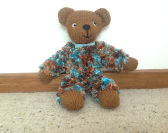 soft toy brown bear, plushie knitted & woolen quirky handmade teddy bear