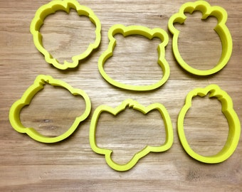 Set of six baby zoo animal cookie cutters