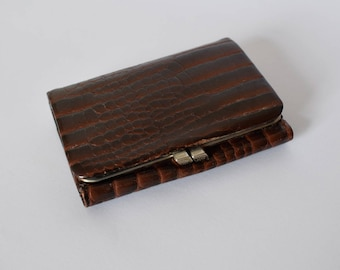 Vintage faux leather wallet with crocodile print shape purse kisslock coin credit cards Portemonnaie Accessoire retro snake