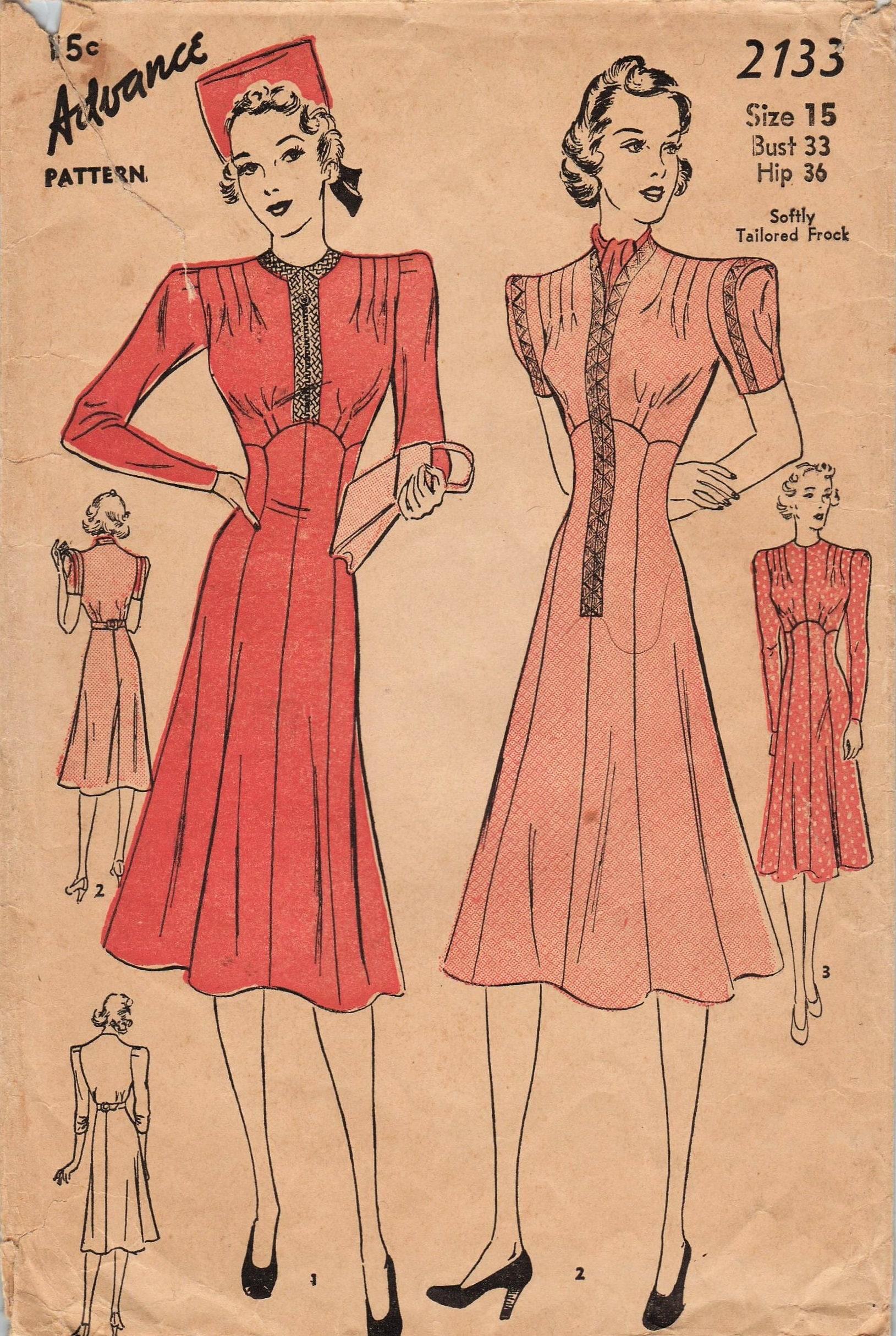 Advance 2133 vintage 1930s sewing pattern dress size 15 description this vintage advance sewing pattern jeuxipadfo Choice Image