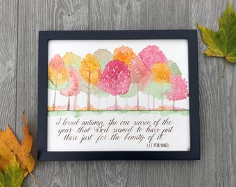 Calligraphy Autumn Quote   Calligraphy Wall Art   Watercolor Wall Art   Fall  Watercolor Quote