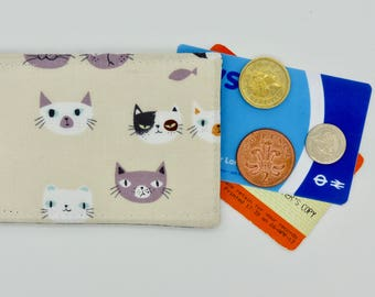 Oyster card holder, bus pass holder, travel card holder, card wallet. Cat print wallet . Oyster card wallet, credit card holder