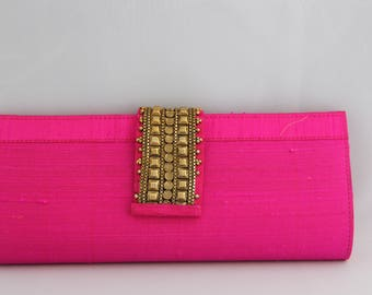 Fuschia Clutch with Golden Clasp