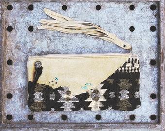 Mojave Winds Keepsake Clutch / Boho Chic Leather Fringe southwest tribal zipper Make up Cosmetic bag / rustic boho wedding gift