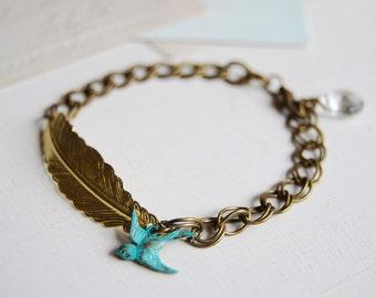 Gold Feather Bracelet. Brass feather Blue verdigris Patina Swallow Bird Clear Crystal Bracelet. Double Link Chain Vintage Style Bracelet