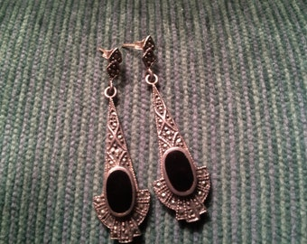 Black Onyx and Marcasite Sterling Silver Dangle Earrings