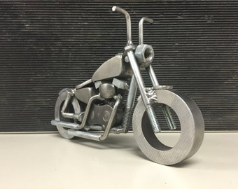 Harley sportster bobber with ape hangers welded motorcycle sculpture