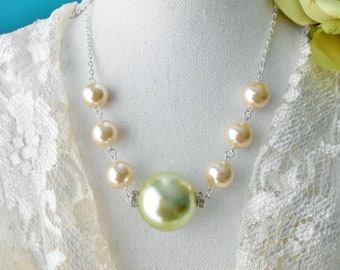 Big Bauble Pearl Necklace XL Sage Green Pearl with Rhinestone Accents Creamy Ivory Pearls Victorian Urban Chic