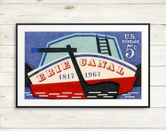 Erie Canal art print, Albany NY wall art, New York State poster, New York City art prints, Great Lakes art prints, Vintage boat art prints
