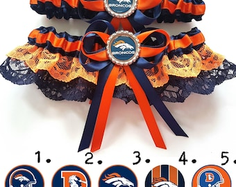 Denver Broncos American Football Satin/Satin and lace Garter/Garter Set-Your choice of embellishment