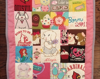 MINI Baby clothes Quilt, Wall Quilt, Memory quilt, Custom quilt using baby clothes, Repurposed Upcycled Baby Clothing Wall Quilt (total 100)