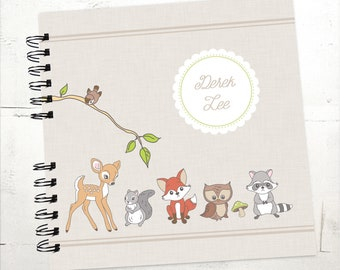 Baby Book |  Baby Memory Album | Woodland Animals Personalized Wire Bound Baby Memory Book Keepsake Album