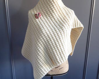 Extra Long Knit Shawl, Beige Shawl With Decorative Flower, Warm And Soft, Shawl Wrap, Hand Knitted Items, Fashion Wrap, Trendy Blanket