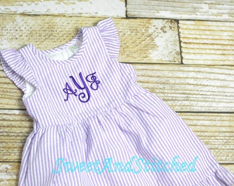 Monogrammed Seersucker dress, toddler dress, baby girl easter dress personalized, toddler beach outfit, Summer outfit, Baby Girl Beach Dress