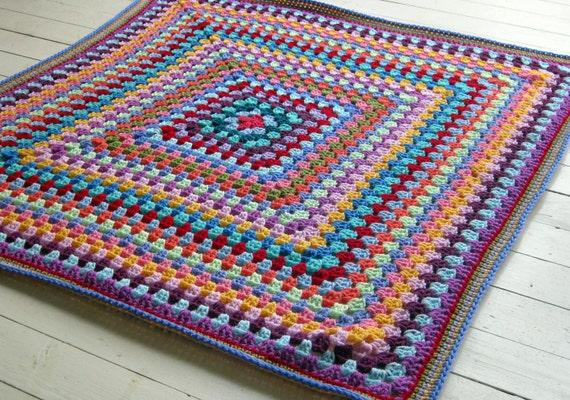 Oma Quadrat häkeln Decke Regenbogen Farben afghanischen