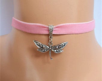pink velvet choker, dragonfly choker, dragonfly necklace, antique silver tone, stretch
