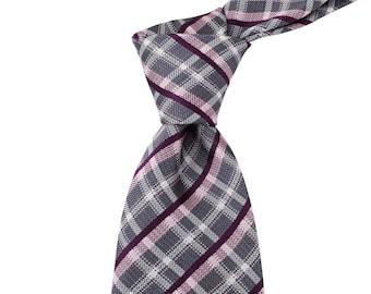 8cm Tartan Checks Necktie in Grey and Purple, Business width Ties