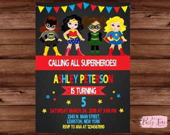 Supergirl Invitation - Supergirl Invite -  Supergirl Birthday Invitation - Girl Birthday Invitation - Superhero Invitation. DIGITAL FILE