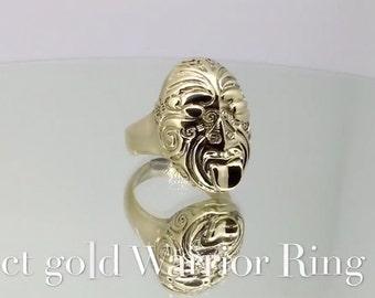 18ct Gold Maori Warrior Ring