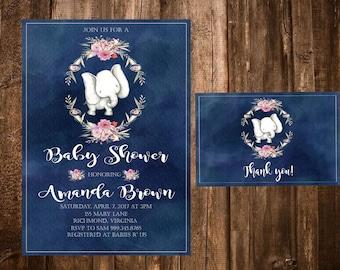 Elephant Baby Shower Invitation, Baby Girl Invitation, Jungle Baby Shower Invitation, Elephant Thank you Card, Elephant Birthday,