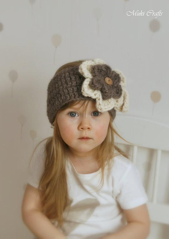 CROCHET PATTERN headband headwrap with flowers Säde kids and