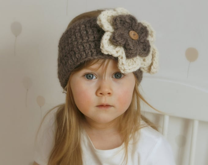CROCHET PATTERN headband headwrap with flowers Säde (kids and adult sizes)