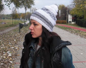 slouchy hat hand knit hat chunky knit hat winter hat white slouchy beanie striped knit hat ombre knit hat