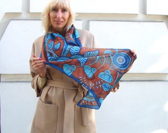 Blue silk scarf Hand painted silk Birthday gift Blue brown scarf Navy blue scarves Neck scarf batik Blue scarf Casual scarf Anniversary gift