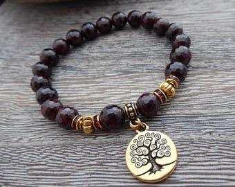Faceted Garnet Bracelet, Meditation Bracelet, Yoga Bracelet, Wrist Mala, 1st Chakra Bracelet, Crystal Healing, Reiki infused