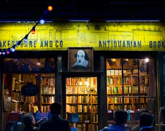 Paris Photography - 'Finding Shakespeare II' - Bookstore - Fine art photo - Street photography - yellow, green, gold - 8x12
