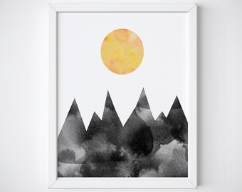 Mountain Print - Abstract Print - Scandinavian Print - Watercolor Print - Geometric Triangle Art - Triangle Print - Moon Print - Nordic Art