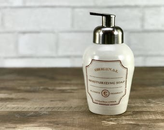 Foaming soap dispenser: White soap dispenser apothecary label soap dispenser Ceramic white bathroom accessories brushed nickel pump foaming
