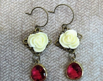 SPRING SALE SPRING Sale Shabby Chic style earrings cream rose pink earrings gift ideas for her Victorian