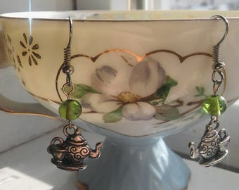 GREEN TEA SERVICE Dangle Tea Earrings,Spota Tea? Tea Time Jewelry,Silver Tea Earrings,StuffedLinens,Tea Cup & Tea Pot Earrings