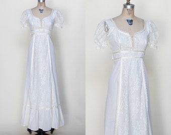 1970s Wedding Dress /// Vintage Gunne Sax Style Maxi Dress