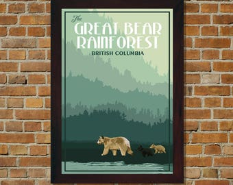 Great Bear Rainforest BC - Vintage Travel Poster