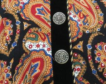 vintage retro black with vibrant paisley print velvet trim  dress long with shoulder pads Karen Stevens petites size 4 belted zipper back