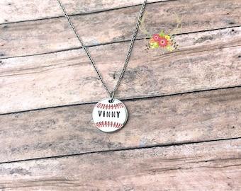 Personalized Baseball Necklace - Baseball Mom - Baseball Necklace - Sports Mom - Name Necklace - Baseball - Baseball Jewelry - Necklace
