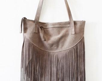 ON SALE Fringes suede GRAY Leather tote bag - Shoulder Bag -Every day leather bag - Women bag
