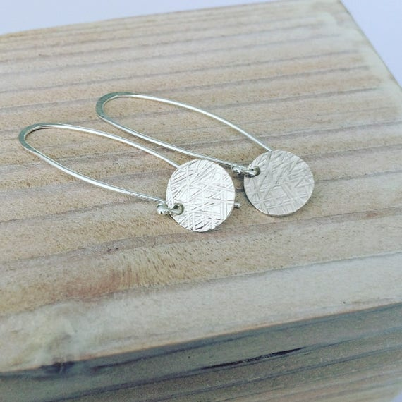 Crosshatched Textured Disc Long Sterling Silver Earrings - Modern - Minimalist - Simple -