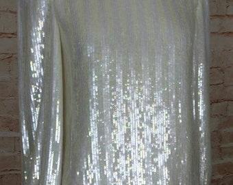Carolina Herrera ivory striped sequin 80s Blouse S M