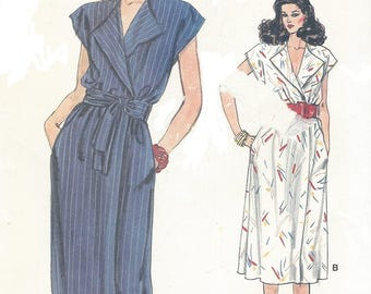 80s Womens Wrap Dress with Obi Style Belt 2 Lengths Very Easy Vogue Sewing Pattern 8704 Size 14 16 18 Bust 36 38 40 UnCut Sewing Patterns