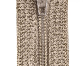 "Dogwood 14"" All Purpose Polyester Coil Zipper from Coats and Clark, Taupe Zipper"