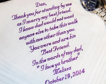 Personalized Handkerchief, A Special Gift for the Man Standing in for the Father of the Bride 30-60 words  - Thread Born Memories