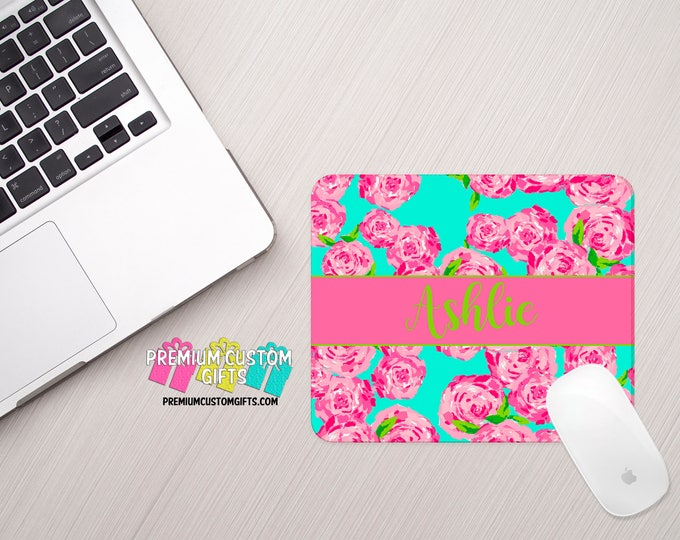 Lilly Pulitzer Inspired Mouse Pad - Custom Mouse Pad - Personalized Mouse Pad - Office Gift - Personalized Gift - Computer Desk Mouse Pad