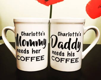 Personalized Coffee Mug for Mommy & Daddy! Great Father's Day Gift!