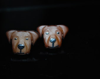 Brown Dog Earrings -- Studs, Brown Dogs, Boxer, Retriever, Pit Bull