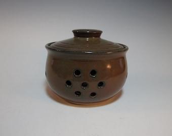 Garlic Jar Garlic Keeper Brick Red - Handmade Ceramic Pottery - In Stock